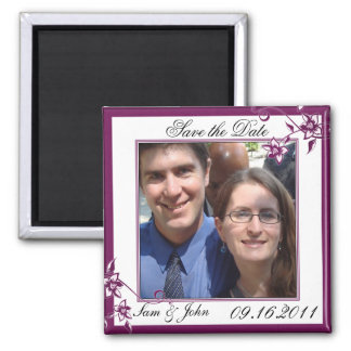 Save the Date Sangria White Floral Blossoms Magnet