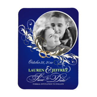Save the Date Sapphire Blue Wedding Photo Magnets