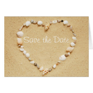 Save the Date Seashell Heart Card