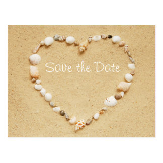 Save the Date Seashell Heart Postcard