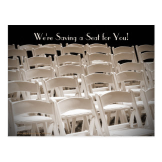 Save the Date Sepia Vow Renewal Chairs Postcard