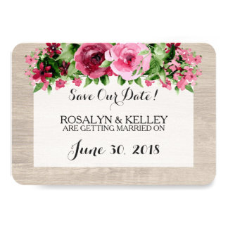 "Save The Date Shabby Vintage Roses Rustic Wedding 3.5"" X 5"" Invitation Card"
