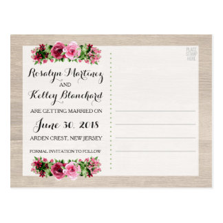 Save The Date Shabby Vintage Roses Rustic Wedding Postcard