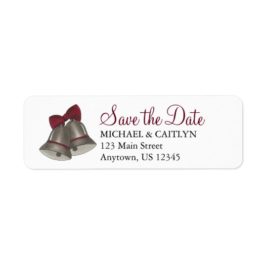 Save the Date Silver Bell Wedding Bells Labels