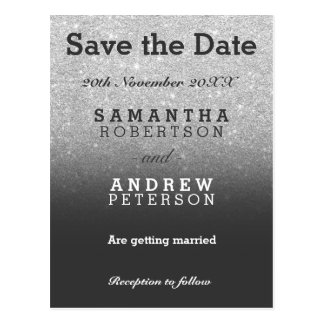 Save the Date silver faux glitter grey ombre Postcard