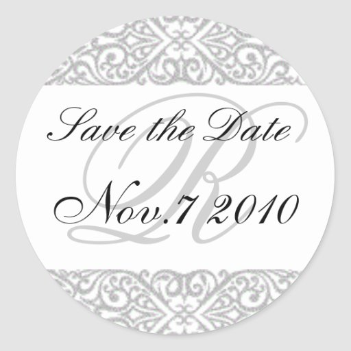 """Save the Date"" Silver Lace Sticker"