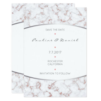 Save The Date Silver Pink Rose Gold Glitter Marble Card