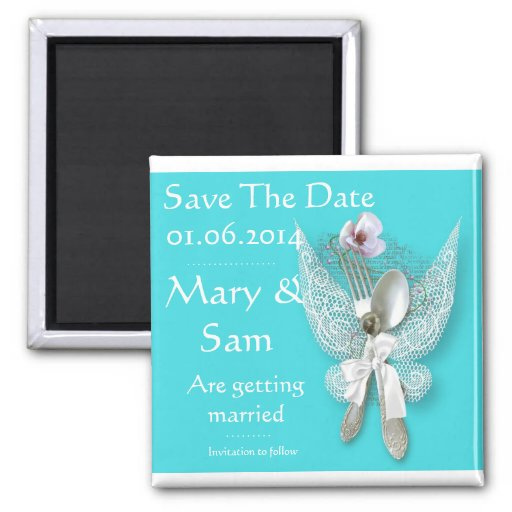 Save The Date Silver Spoon Magnet