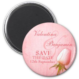 Save the Date Single Pink Rose Fridge Magnet
