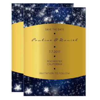 Save The Date  Sky Night Stars Gold Card
