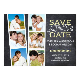 "Save the Date | Snapshot Collage Yellow 5"" X 7"" Invitation Card"