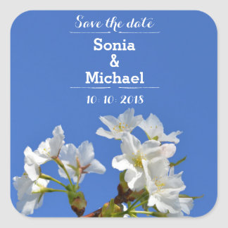 Save The Date Spring Blossoms Square Sticker