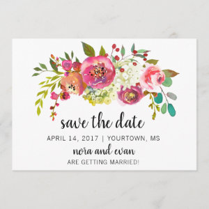 Save the Date Spring Summer Floral Watercolor