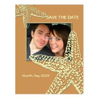 Save the Date, starfish + sand Postcard