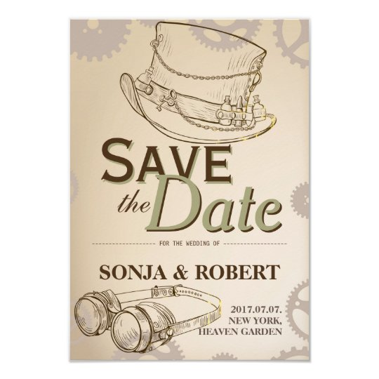 Save the Date - Steampunk Hat and Googles Card