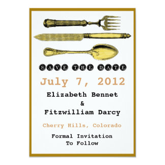 Save The Date - Steampunk Knife Fork and Spoon Card