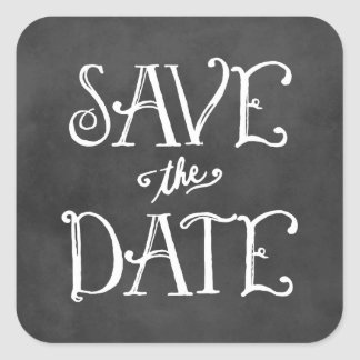 Save the Date Sticker | Black Chalkboard Charm
