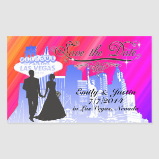 SAVE THE DATE STICKER WITH VIEW OF LAS VEGAS
