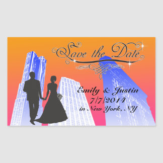 SAVE THE DATE STICKER WITH VIEW OF NEW YORK CITY RECTANGLE STICKER