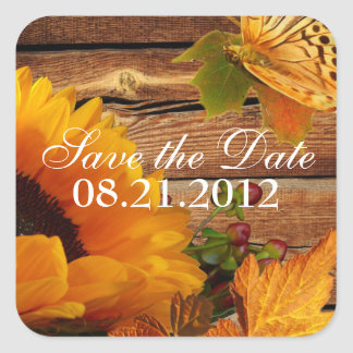 Save the Date Stickers Square Rustic Sunflower