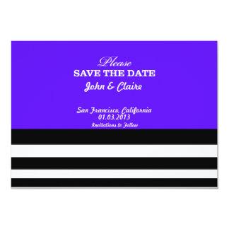 "Save The Date Stripes Purple - Black White Simple 5"" X 7"" Invitation Card"