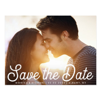 Save the Date Stylish Engagement Photo Postcard