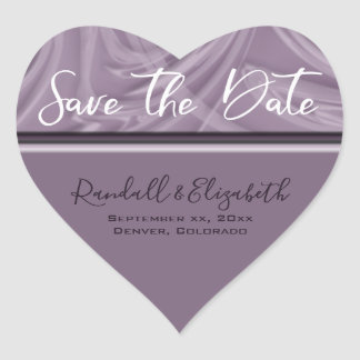 """Save the Date"" Stylish Shades of Purple Strokes Heart Sticker"