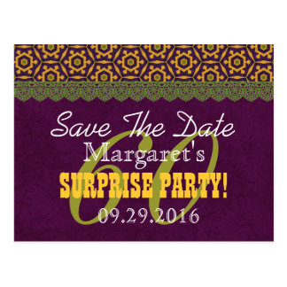 Save the Date SURPRISE 60th Birthday V011C PURPLE Postcard