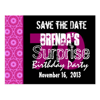 Save the Date Surprise 70th Party Pink W1750 Postcard