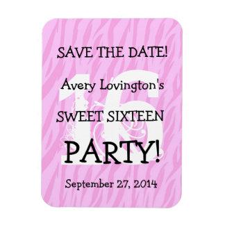 Save the Date Sweet 16 Birthday V05 PINK ZEBRA Magnet