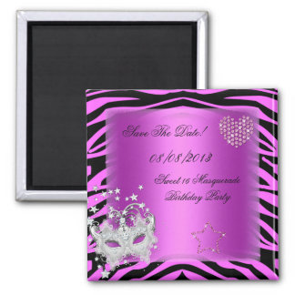 Save The Date Sweet 16 Masquerade Pink Zebra Magnet