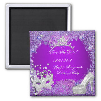 Save The Date Sweet 16 Masquerade Purple Pink Square Magnet