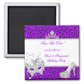 Save The Date Sweet 16 Masquerade Purple Square Magnet