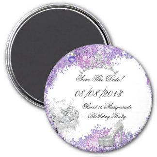 Save The Date Sweet 16 Masquerade Purple White 2 Fridge Magnets