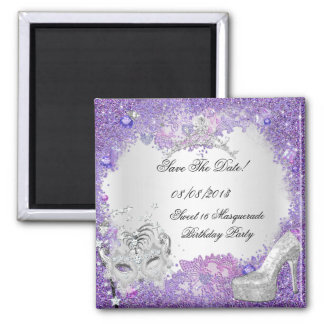 Save The Date Sweet 16 Masquerade Purple White Square Magnet