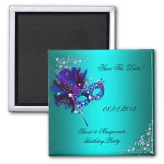 Save The Date Sweet 16 Masquerade Teal Square Magnet