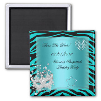 Save The Date Sweet 16 Masquerade Teal Zebra Magnet