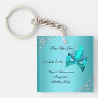 Save The Date Sweet 16 Quinceanera Masquerade Teal Double-Sided Square Acrylic Keychain