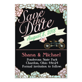 Save the Date Tandem Bicycle Floral balloons black Card