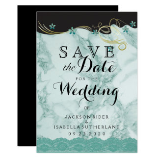 Save the Date Teal Marble Card