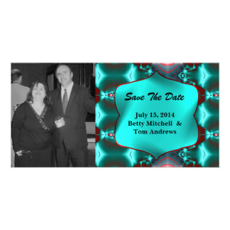Save the Date Teal Red Abstract Design Photo Card