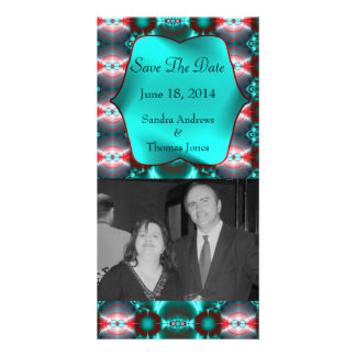 Save the Date Teal Red Abstract Design Picture Card