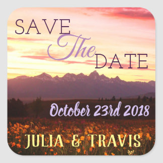 Save the date tetons purple AND WILDFLOWERS Square Sticker