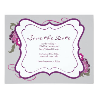 "Save the Date // The Plum Bouquet Collection 4.25"" X 5.5"" Invitation Card"