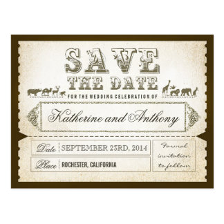 save the date tickets ZOO SAFARI Postcard