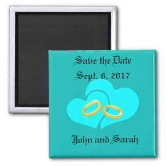 Save the Date Tiffany Blue Hearts Square Magnet