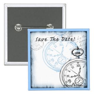 Save the Date Timepiece Pocketwatch Design Button
