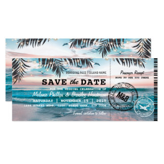 Save the Date Tropical Beach Lights Boarding Pass Card