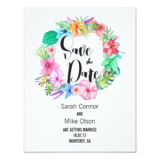 Save the Date Tropical Island Floral Wedding Card