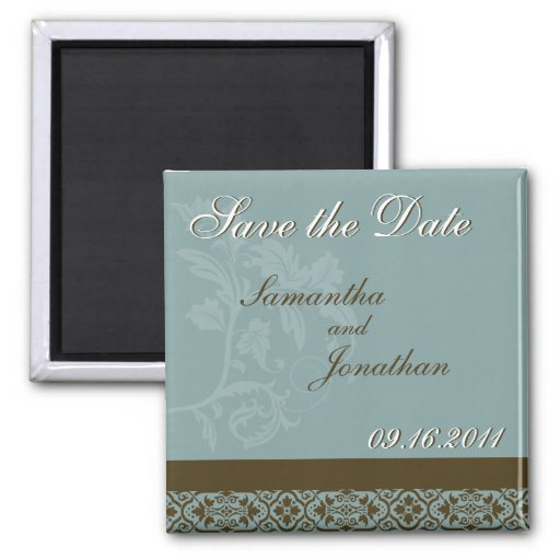Save the Date Turquoise Blue & Brown Damask Magnet